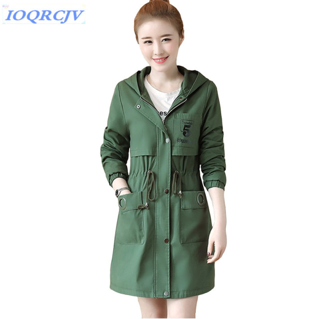 f0bd7ace8a6d9 2018 Spring Women s Trench Coat Fashion Student Hooded Outerwear Plus size  Belt Slim Female Cotton Windbreaker