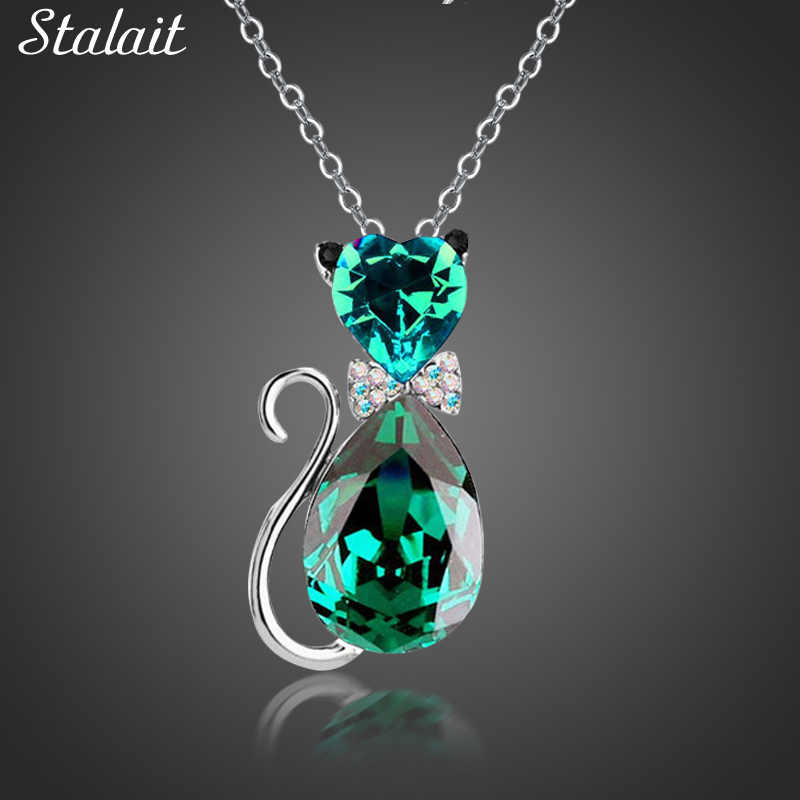 Cute Cat Pendant Necklace For Women Heart Crystal Jewelry Austrian Crystal Clavicle Chain Necklace