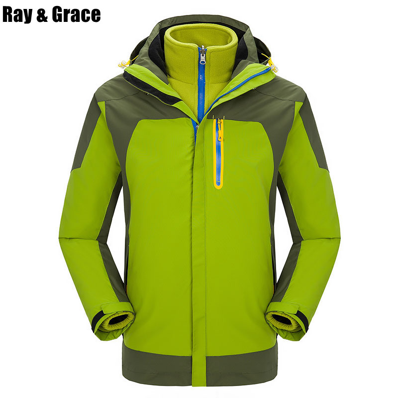 RAY GRACE Men Outdoor Camping Hiking Jacket Women Fishing Inner Warm Fleece Hunting Windbreaker 2 Pieces Outdoor Jackets