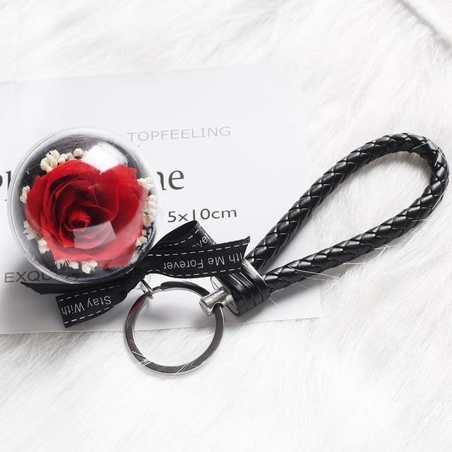 Средняя красота и чудовище Роза, Роза в стеклянном куполе, навсегда Роза, красная роза, консервированная Роза, Белль Роза, особый романтический подарок - Цвет: Mini Key Link B