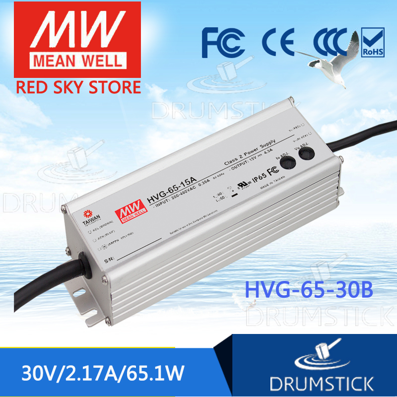 MEAN WELL HVG-65-30B 30V 2.17A meanwell HVG-65 30V 65.1W Single Output LED Driver Power Supply B type [powernex] mean well original hvg 65 48d 48v 1 36a meanwell hvg 65 48v 65 3w single output led driver power supply d type