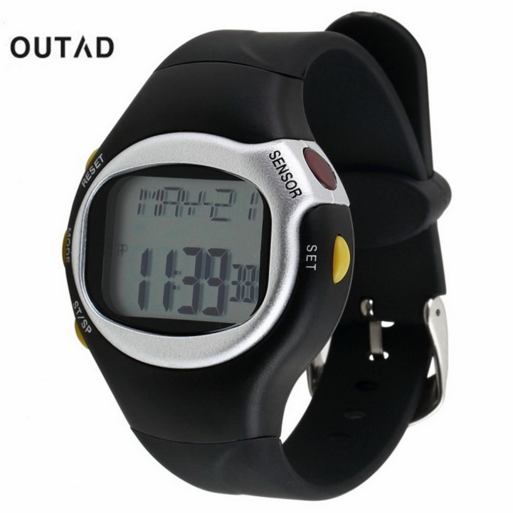 OUTAD Black Color Pulse Heart Rate Monitor Calorie Counter Stop Watch Calorie Counter Exercise Touch Sensor 6 In 1