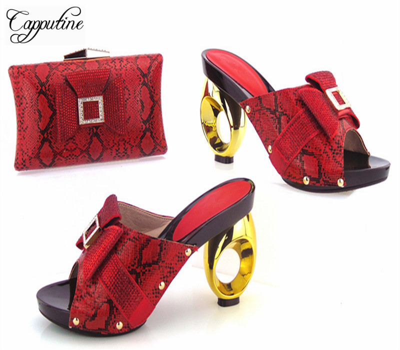 Capputine New Arrival Rivet Ladies Shoes And Bag Set For Evening Party African Style High Heels Shoes And Bag Set Size 37-43 doershow african shoes and bags fashion italian matching shoes and bag set nigerian high heels for wedding dress puw1 19