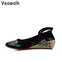 Veowalk sapato feminino Mode Femmes Chaussures, Dame Vieux Pékin Mary Jane Appartements Occasionnels, Chinois Fleur Brodé Chaussures En Tissu femme