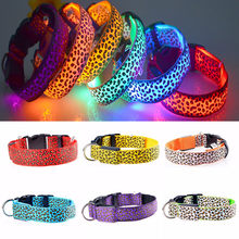 FML Leopard 2.5cm Wide LED Pet Dog Collar 3 Mode Flashing Luminous Lighting Safety For Small Medium Large Pet Dogs(China)