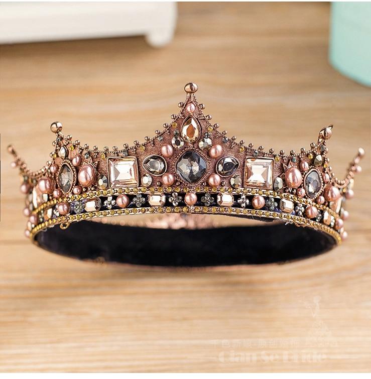 Handmade Pearl Bridal Hair Accessories New Tiara Head Piece Crystal Head piece Women Queen Rhinestone Pageant Tiaras and Crowns
