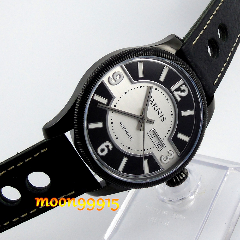 42mm Parnis PVD Black and white dial Sapphire Glass miyota Automatic mens Watch 42mm parnis white black dial sapphire glass miyota 8215 automatic mens watch 423
