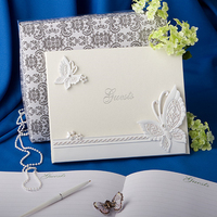 butterfly wedding guestbook and pen set color white wedding party gifts favors