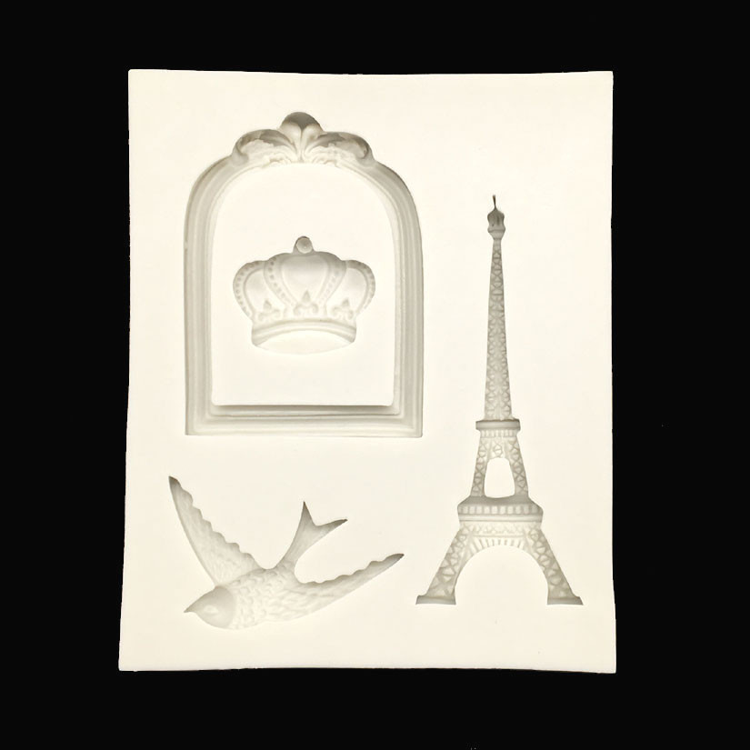 Wholesale 10 Pcs lot Eiffel Tower And The Bird Shapes Silicone Sugarcraft Mould Fondant Cake Decorating
