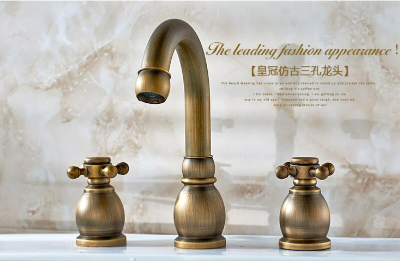 Antique basin three-hole faucet Continental bathtub dual-use split-type double open eight-inch faucet copper hot and coldLU41311 lanos torneira all copper split three piece three hole basin faucet flat water double tube factory direct the hot and cold taps