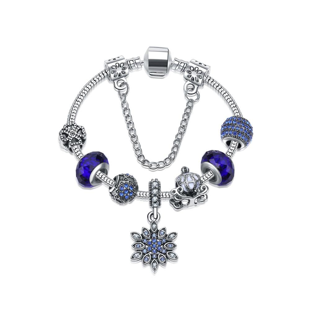 Fashion Women Bracelets Glass Crystal Snowflake Beads European Fashion Jewelry Romantion Blue Rhinestone Chamrs Bracelet 16-21cm