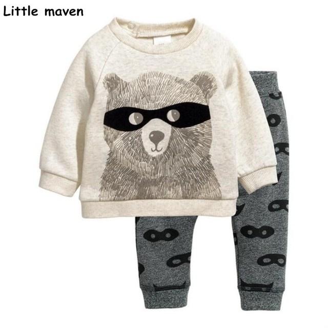 Little maven children's clothing sets 2017 autumn new boys Cotton brand long sleeve glasses bear print t shirt + pants 20177