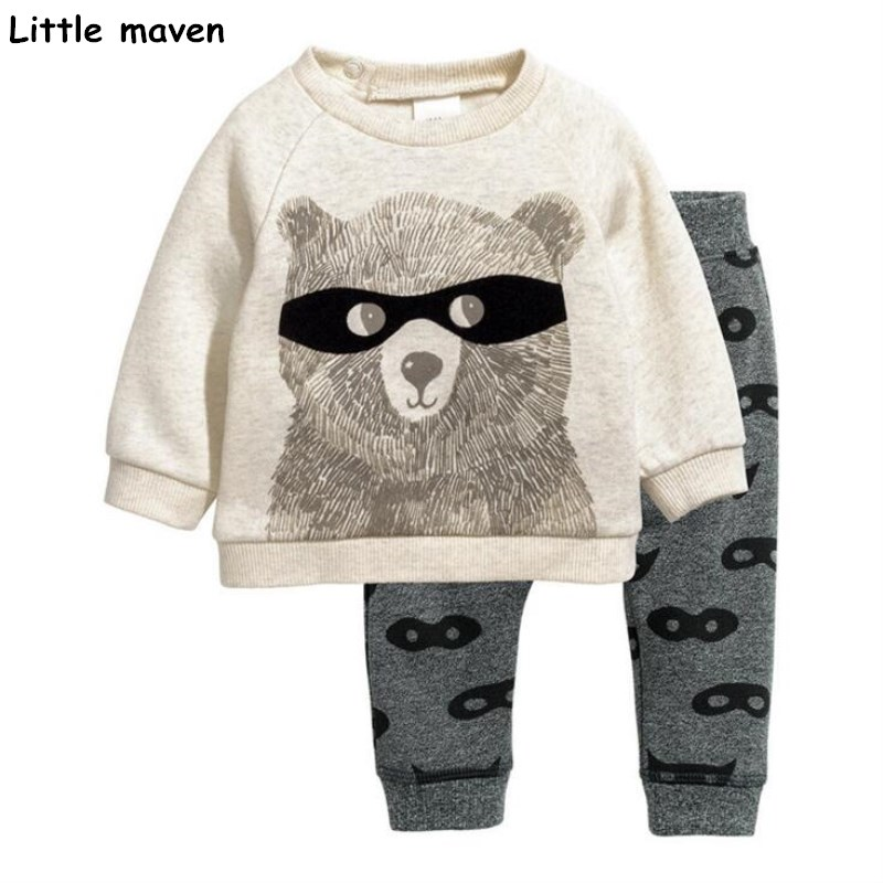 Little maven children's clothing sets 2017 autumn new boys Cotton brand long sleeve glasses bear print t shirt + pants 20177