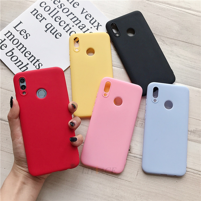 matte <font><b>silicone</b></font> phone <font><b>case</b></font> on for <font><b>huawei</b></font> P smart / psmart plus <font><b>y7</b></font> y9 <font><b>2019</b></font> 2018 honor 10i candy color soft tpu back cover fundas image