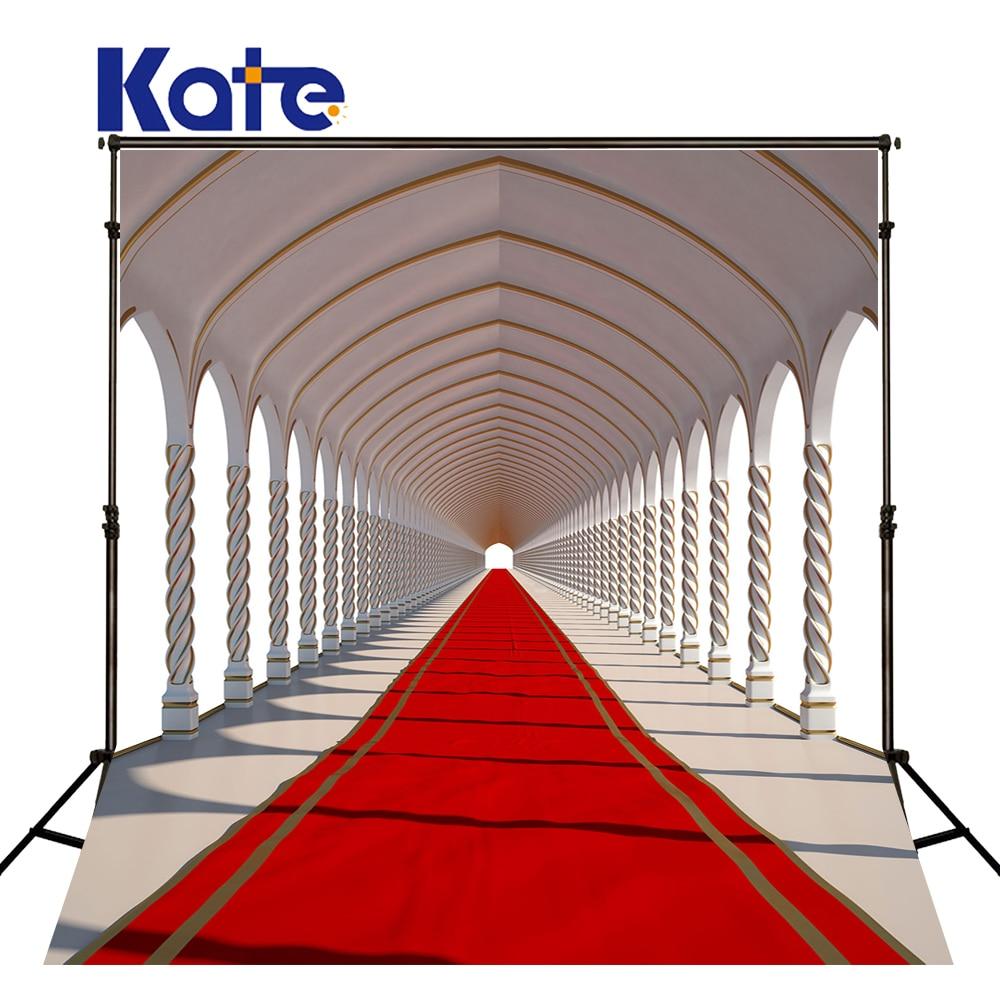 Kate Svatební fotografie kulisy 10X10FT Bílá galerie Červený koberec Foto Studio pro svatební Foto pozadí umývatelné pozadí