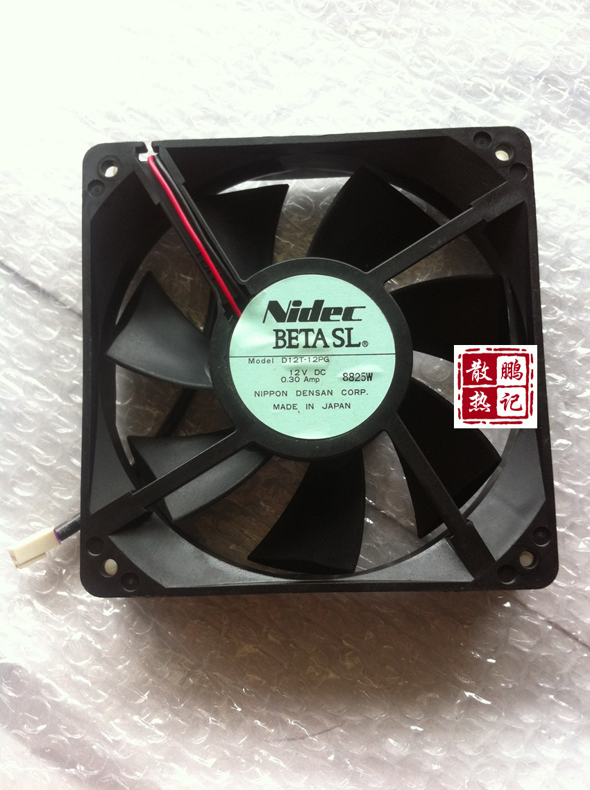 Free Shipping for NIDEC D12T-12PG DC 12V 0.30A 2-wire 2-pin connector 100mm 120x120x25mm Server Square Cooling Fan free shipping for nidec r40w12bs2ca 57a05 43v6928 43v6929 dc 12v 0 84a 40x40x56mm 8 wire 6 pin connector server square fan