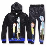 Casual Unisex Ricky And Morty 3D Print Hoodies And Skinny Jeans Anime Sweatshirt With Hat Spring