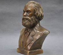 Chinese Old 7 German Great Communist Carl Marx Bust Bronze Statue Walking Stick Head decoration bronze factory outlets