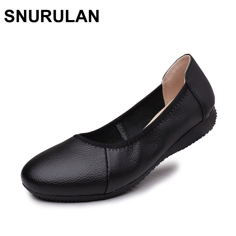 SNURULAN  Fashion Genuine Leather Ballet Flat Shoes Woman Pointed Toe Plus Solid Black Shallow Soft Office Work Pregnant Shoes(China)