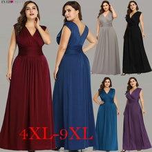 בתוספת גודל ערב שמלות ארוך פעם די EZ07661 אלגנטי כחול כהה V צוואר אונליין שיפון ללא שרוולים פורמליות מסיבת חתונת שמלה