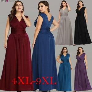 Image 1 - Женское длинное вечернее платье Ever Pretty, элегантное темно синее шифоновое платье трапеция с V образным вырезом, без рукавов, для торжественных случаев и свадеб, EZ07661, лето 2019
