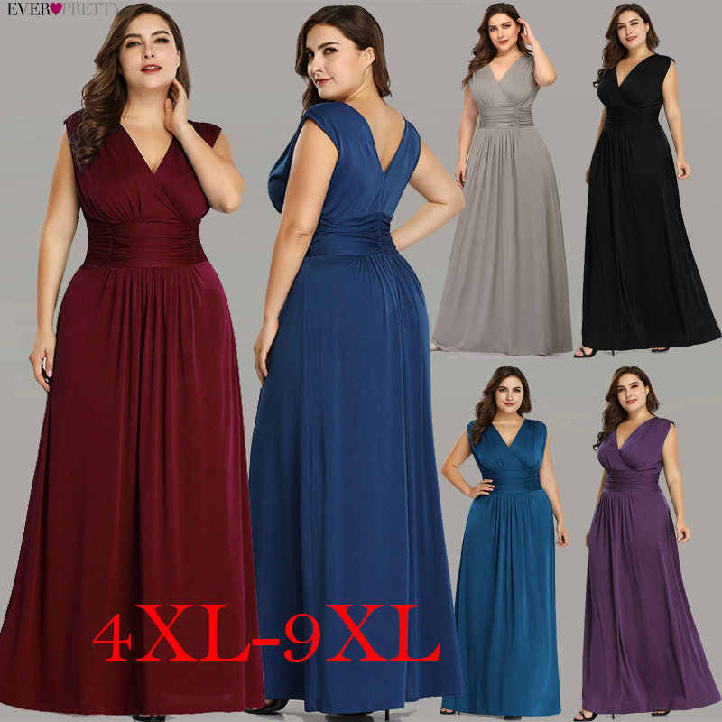 Plus Size Vestidos de Noite Longo Já Bastante EZ07661 Elegante Azul Marinho Com Decote Em V A-line Chiffon Mangas Formal Vestido de Festa de Casamento