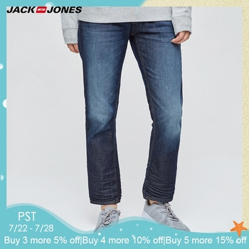 Jack & Jones YENI Denim ince ekose kalem pantolon tam boy kot erkekler akıllı punk tarzı moda kot   217132558