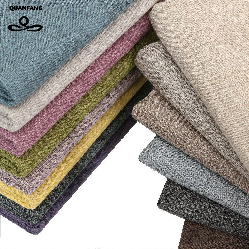 QUANFANG Solid colo Cotton Linen Fabric For Patchwork Quilting/DIY Sewing/Sofa Table Cloth/Furniture Cover Tissue/Cushion Meter