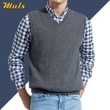 Мужской свитер без рукавов, жилет, мужской осенний весенний Хлопковый вязаный однотонный жилет, мужской деловой топ с v-образным вырезом, новинка, приталенный, 3XL