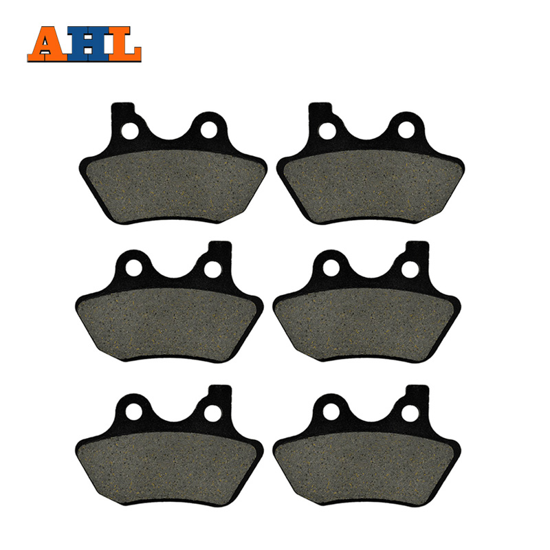 AHL 3 Pairs Motorcycle Brake Pads For Harley Davidson XL 1200 S Sport Sportster 2000-2003 Black Brake Disc Pad economic bicycle brake pads black 4 pcs