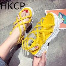 HKCP women sports sandals new summer 2019 Korean version of womens shoes platform bottom transparent cross C220