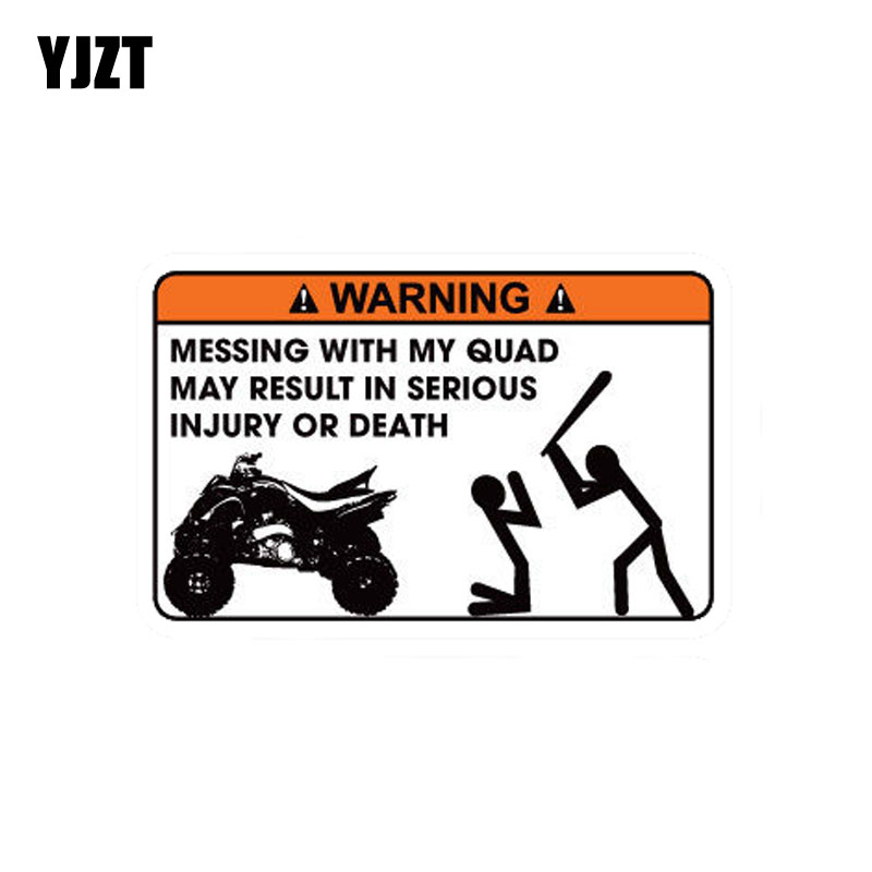 YJZT 12.2CM*8CM Funny MISSING WITH MY QUAD MAY RESULT IN SERIOUS INJURY OR DEATH PVC Decal Car Sticker 12-0155