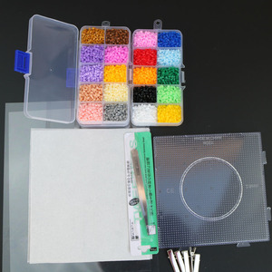 Image 4 - Mini perles de jouets EVA Hama, 2.6mm, PUPUKOU bricolage, gabarit contenant Tangram, Puzzle avec outils, perler Puzzle, jouets pour enfants, brinquegos