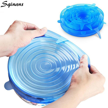 Sqinans 6pcs/Set Universal Silicone Food Wrap Reusable Seal Cover Food Fresh Keeping Silicone Saran Wrap Food Seal Magic Wrap