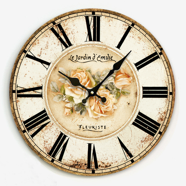 Free shipping Europe Mediterranean vintage mute interior wooden wall clock with rose print roman number home villa decoration
