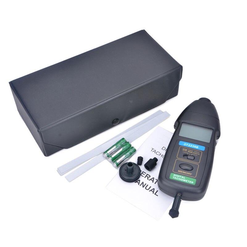 DT2236B Professional Photo Contact Tachometer Brand 3 in1 Handhold LCD Digital Tachometer Wide Measuring Range Speedometer