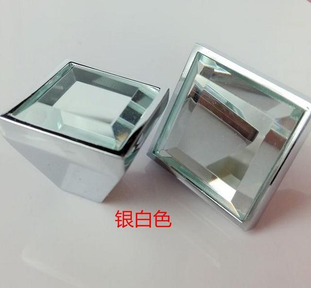 5colors square Lens haplopore Diamond crystal Alloy Door Drawer Cabinet Wardrobe Pull Handle Knobs Drop Shipping Wholesale