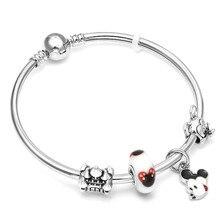 DEERIPA 2019 New Arrive Carton Animal Mickey Charm Bracelets with Castle Beads Brand Bracelet For Kids Girls Gift