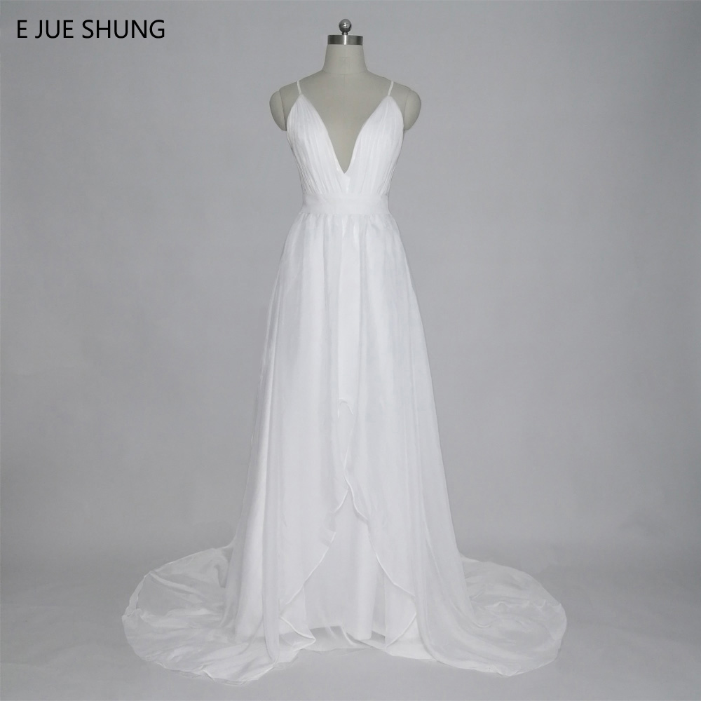 E JUE SHUNG White Chiffon Murah Boho Wedding Dresses 2018 Deep V-leher Spaghetti Tali Backless Summer Beach Bridal Dresses