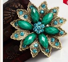 Retro Fashion Jewelry Wholesale Alloy Resin Rhinestone Flower Women Brooch,Brooch For Wedding Dresses,Free Shipping