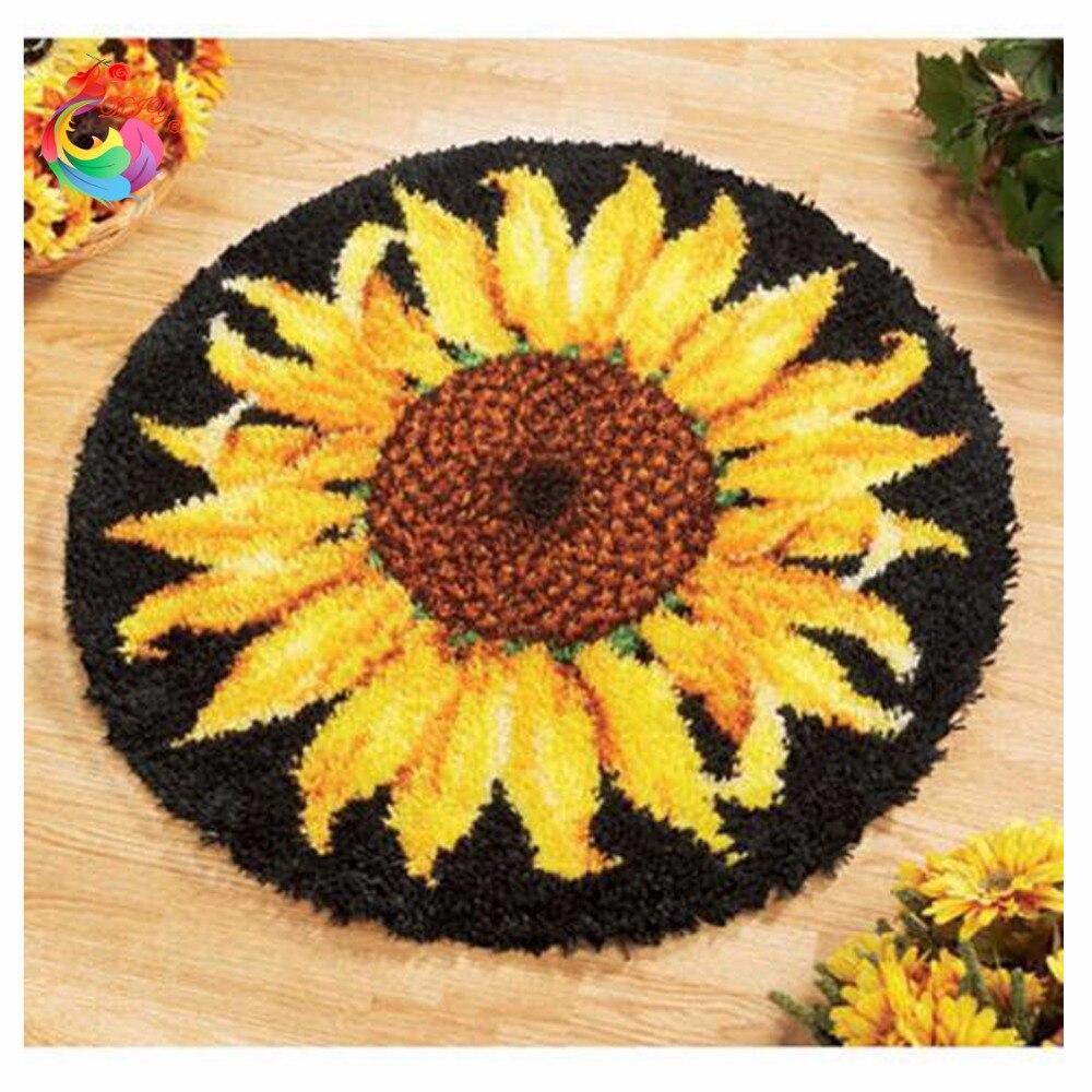 Teppich stickerei Haken Teppich Kit DIY Handsets Unfinished Häkeln Garn Knüpfteppich Kit Bild Teppich Set Sonnenblume