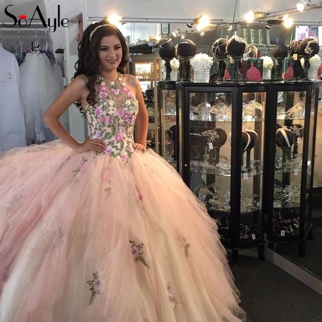436a3804c SoAyle Ball Gown Nude Pink Quinceanera Dresses Flowers Embroidery Vestidos  De Festa Vestido Longo Teenagers Large Dresses