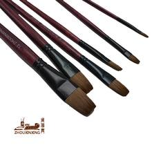6pcs/Set oil paint brush artist weasel hair water color brush chese paintbrush Acrylics Paints Set Drawing Art Supplies Tools