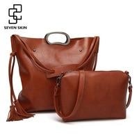 SEVEN SKIN Brand Women Handbag 2 Pcs Composite Bags Solid Leather Shoulder Bags Female Large Tote