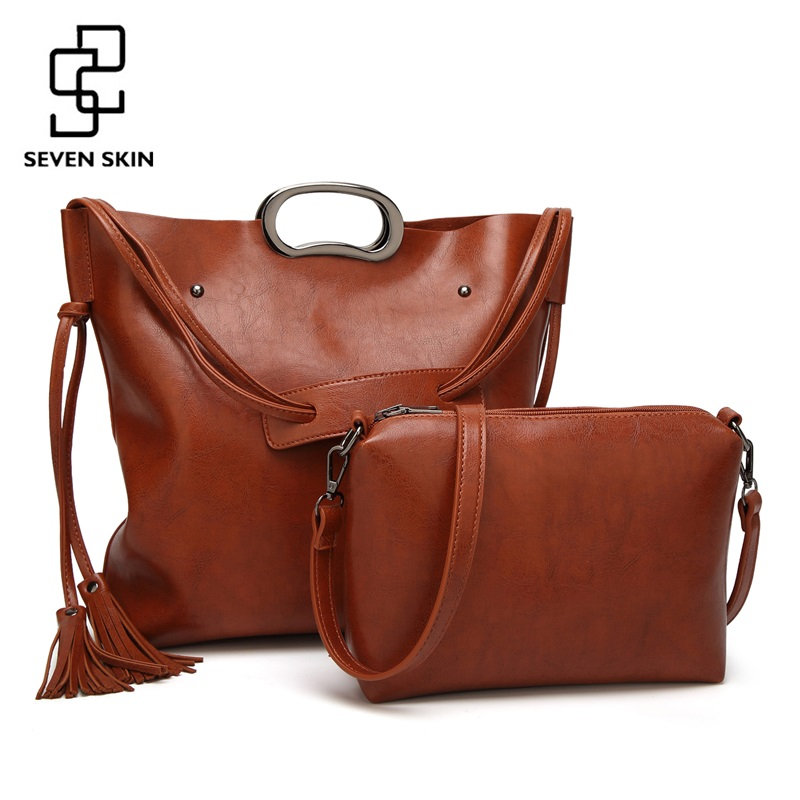 SEVEN SKIN Brand Women Handbag 2 Pcs Composite Bags Solid Leather Shoulder Bags Female Large Tote Bag Small Messenger Bag Tassel jooz brand luxury belts solid pu leather women handbag 3 pcs composite bags set female shoulder crossbody bag lady purse clutch