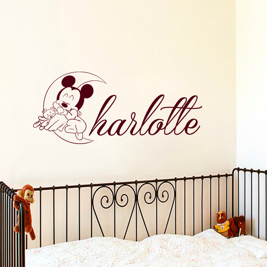 mickey mouse sleeping on the moon wall stickers custom name nursery baby bedroom vinyl wall. Black Bedroom Furniture Sets. Home Design Ideas
