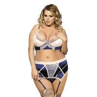 New Fahion M,XL,3XL,5XL Large Size Brand Sexy MM Intimates Lace Suspenders Lingerie Split Gloves Bra Set Comfortable Underwear