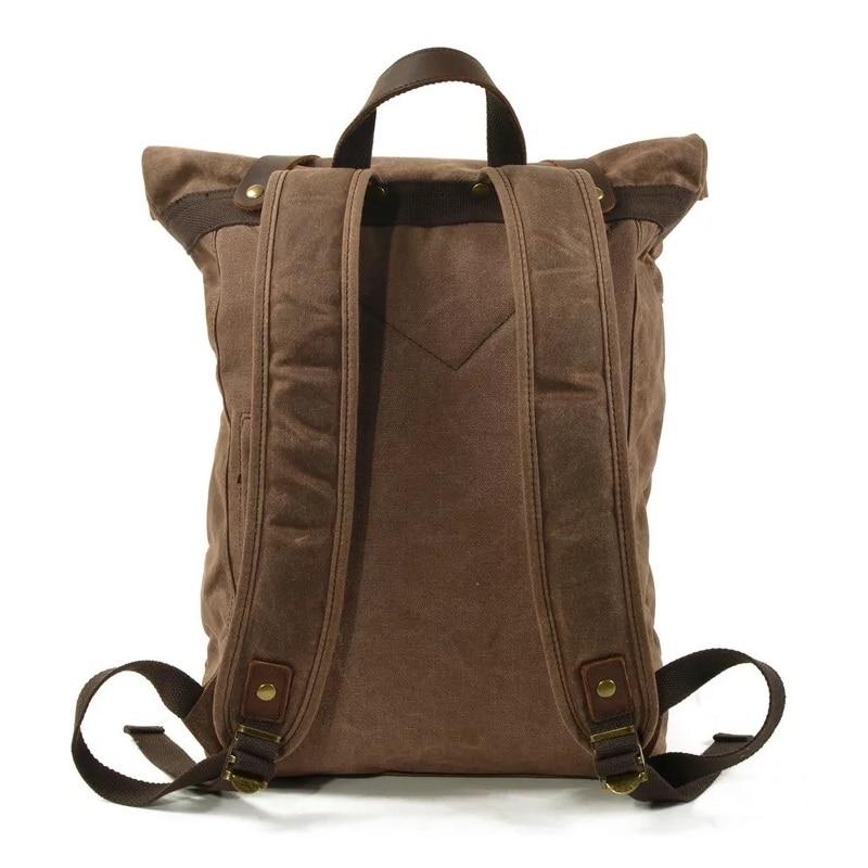 WOHENRED Waxed ผ้าใบกระเป๋าเป้สะพายหลังชายกระเป๋านักเรียนกระเป๋าแล็ปท็อป Daypack ขนาดใหญ่ความจุเยาวชน Anti   theft Rucksack คุณภาพสูง-ใน กระเป๋าเป้ จาก สัมภาระและกระเป๋า บน   2
