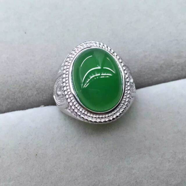 Natural green chalcedony Ring Natural gemstone Ring 925 sterling silver trendy luxurious big for men women's party fine Jewelry цена 2017