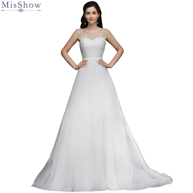 MisShow 2018 Simple Tulle Sheer Straps Wedding dress Customized Plus ...